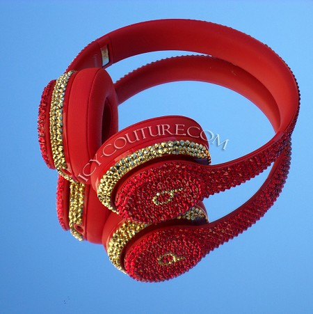 ROYAL RED 24K GOLD Bling Beats Swarovski Crystals