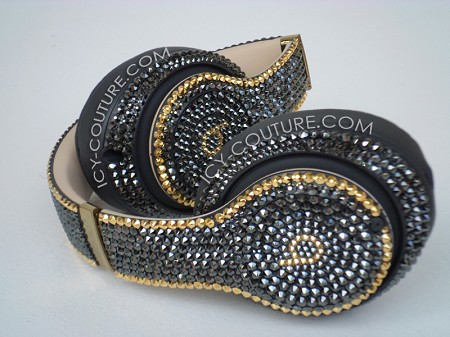 Couture Style Bling Beats Design with Swarovski Crystals  - Black & Gold
