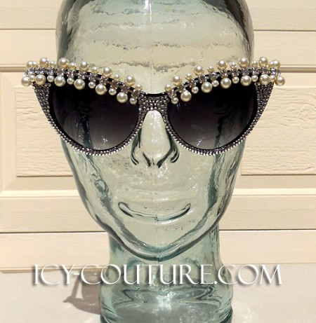 ICY Couture Queen of Pearls Crystal CAT-ICE Sunglasses Frames