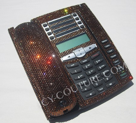 ICY Couture Classic Brown Crystal Home Office Phone. Whats Your Color?