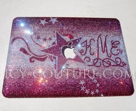 SWIRLS & STARS - ICY Couture Crystal design on Apple MacBook Pro laptop cover