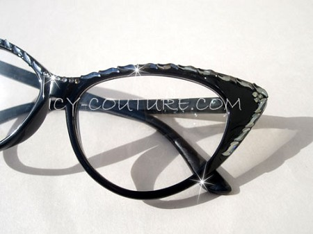 ICY Couture MILANA Black Diamond Crystal Shapes, Clear Lenses, Black CAT-ICE Frames