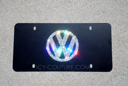 VW Volkswagen License Plate with Swarovski Crystals