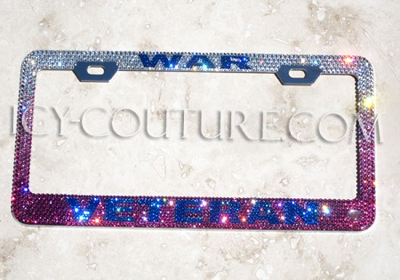 WAR VETERAN Crystal License Plate Frame. Whats Your Colors?