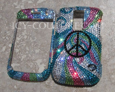 Waves of Peace - Swarovski crystal phone cover, here made on Blackberry Bold