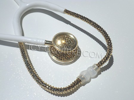 White Stethoscope with 24K GOLD Swarovski Crystals. Whats Your Color?