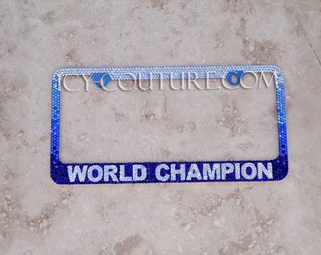 World Champion - Custom Swarovski Crystals License Plate Frame